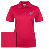 Ladies Red Dry Mesh Polo-Delaware State Hornets w/Hornet