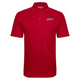 Red Textured Saddle Shoulder Polo-Delaware State Hornets