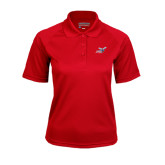 Ladies Red Textured Saddle Shoulder Polo-Delaware State Hornets w/Hornet