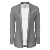 Ladies Heather Grey Open Front Cardigan-Delaware State Hornets w/Hornet