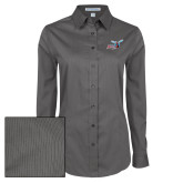 Ladies Grey Tonal Pattern Long Sleeve Shirt-Delaware State Hornets w/Hornet
