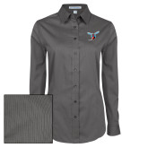 Ladies Grey Tonal Pattern Long Sleeve Shirt-Hornet