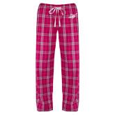 Ladies Dark Fuchsia/White Flannel Pajama Pant-Delaware State Hornets w/Hornet