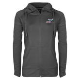 Ladies Sport Wick Stretch Full Zip Charcoal Jacket-Delaware State Hornets w/Hornet