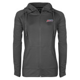 Ladies Sport Wick Stretch Full Zip Charcoal Jacket-Delaware State Hornets