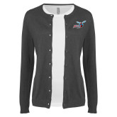 Ladies Charcoal Cardigan-Delaware State Hornets w/Hornet
