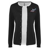 Ladies Black Cardigan-Delaware State Hornets w/Hornet
