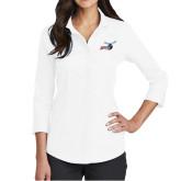 Ladies Red House White 3/4 Sleeve Shirt-Delaware State Hornets w/Hornet