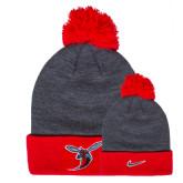 NIKE Red Swoosh Pom Knit Beanie-