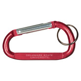 Red Carabiner with Split Ring-Delaware State Hornets Engraved