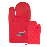 Quilted Canvas Red Oven Mitt-Delaware State Hornets w/Hornet