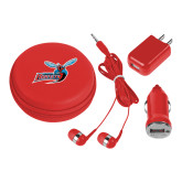 3 in 1 Red Audio Travel Kit-Delaware State Hornets w/Hornet