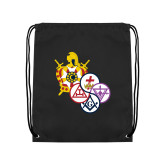 Black Drawstring Backpack-York Rite DeMolay