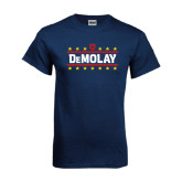 Navy T Shirt-DeMolay with Emblem and Stars Version 2