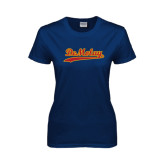 Ladies Navy T Shirt-Demolay Script