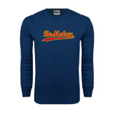 Navy Long Sleeve T Shirt-Demolay Script