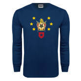 Navy Long Sleeve T Shirt-Emblem with Stars