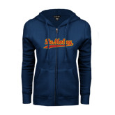 ENZA Ladies Navy Fleece Full Zip Hoodie-Demolay Script