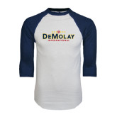 White/Navy Raglan Baseball T-Shirt-Official Logo