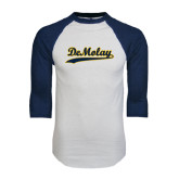 White/Navy Raglan Baseball T-Shirt-Demolay Script