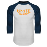 White/Navy Raglan Baseball T Shirt-Unite Demolay
