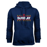 Navy Fleece Hoodie-DeMolay with Emblem and Stars Version 2