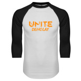 White/Black Raglan Baseball T Shirt-Unite Demolay