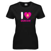 Ladies Black T Shirt-I Heart Demolay