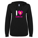 ENZA Ladies Black V Notch Raw Edge Fleece Hoodie-I Heart Demolay