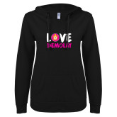 ENZA Ladies Black V Notch Raw Edge Fleece Hoodie-Love Demolay
