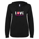 ENZA Ladies Black V Notch Raw Edge Fleece Hoodie-Love Demolay Sweetheart