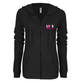 ENZA Ladies Black Light Weight Fleece Full Zip Hoodie-Love Demolay