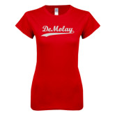Next Level Ladies SoftStyle Junior Fitted Red Tee-DeMolay Script White Soft Glitter
