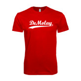 Next Level SoftStyle Red T Shirt-Demolay Script