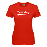 Ladies Red T Shirt-Demolay Script
