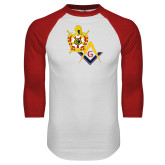 White/Red Raglan Baseball T Shirt-Masons DeMolay