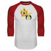 White/Red Raglan Baseball T Shirt-Shriners DeMolay