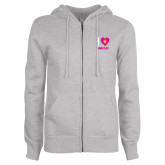 ENZA Ladies Grey Fleece Full Zip Hoodie-I Heart Demolay