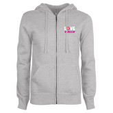 ENZA Ladies Grey Fleece Full Zip Hoodie-Love Demolay