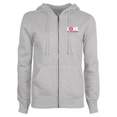 ENZA Ladies Grey Fleece Full Zip Hoodie-Love Demolay Sweetheart
