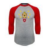Grey/Red Raglan Baseball T Shirt-Emblem with Stars
