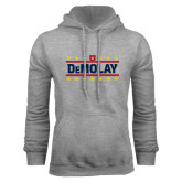 Grey Fleece Hoodie-DeMolay with Emblem and Stars Version 2