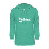ENZA Ladies Seaglass V Notch Raw Edge Fleece Hoodie-Demolay Script
