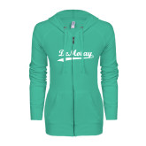 ENZA Ladies Seaglass Light Weight Fleece Full Zip Hoodie-Demolay Script