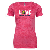 Next Level Ladies Junior Fit Fuchsia Burnout Tee-Love Demolay Sweetheart