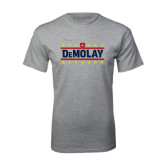 Grey T Shirt-DeMolay with Emblem and Stars Version 2