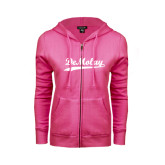 ENZA Ladies Fuchsia Fleece Full Zip Hoodie-Demolay Script