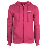 ENZA Ladies Fuchsia Fleece Full Zip Hoodie-Love Demolay Sweetheart