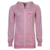ENZA Ladies Hot Pink Marled Full Zip Hoodie-Demolay Mom