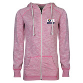 ENZA Ladies Hot Pink Marled Full Zip Hoodie-Love Demolay